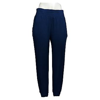 Anybody Women's Petite Pants Cozy Knit Ribbed Jogger Blue A365607