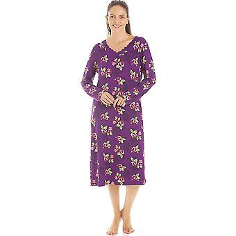 Camille Femmes Purple Floral Print Spandex Knee Length Long Sleeve Nightdress