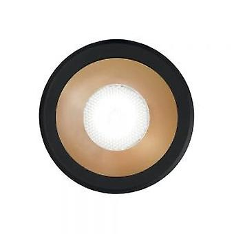 Ideell Lux VIRUS - Integrert LED innendørs innfelt downlight lampe 1 lys svart gull 3000K