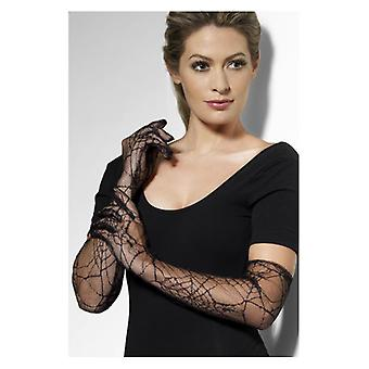 Black Lace Gloves with Spiderwebs Halloween Fancy Dress Accessory