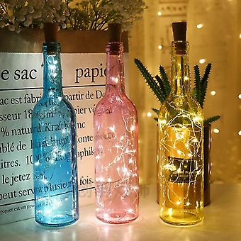 Batteri Powered Garland Vin Bottle Lights Med Cork 2m 20 Led Kobber Wire Farverige Fairy Lights String Til Party Bryllup Decor