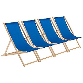 Traditional Adjustable Wooden Beach Garden Deck Chair - Royal Blue - Pack of 4