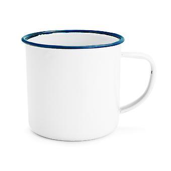 Rink Drink White Émail Espresso Coffee Mugs - 150ml - Garniture bleue