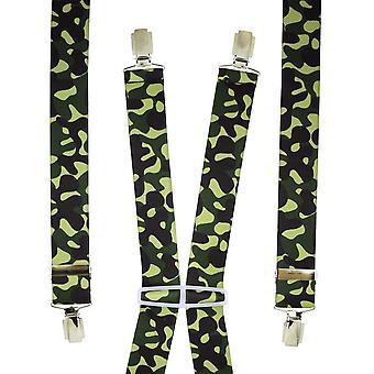 Krawaty Planet Green & Brown Camouflage Mężczyźni&s Spodnie Szelki
