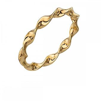 Elements Silver Yellow Gold Plated Twist Ring R3578