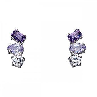 Fiorelli Silver Irregular Stud Amethyst Earrings E5652
