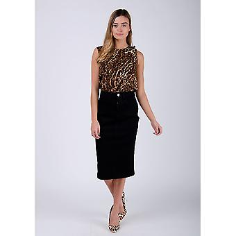 Cynthia black denim midi skirt