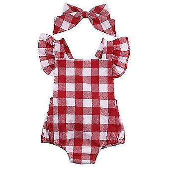Neonato bambini bambino ragazze plaid Ruflles Romper Jumpsuit Abbigliamento Set 0-18m