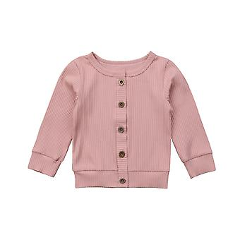 Casual Newborn Infant Baby Long Sleeves Solid Cotton Knitted Sweater Cardigan