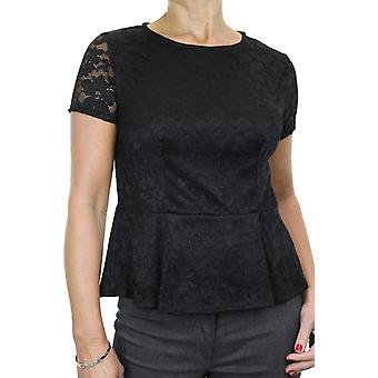 Women's Elegant Short Sleeve Slim Stretch Lace Peplum Top Fully Lined Smart Evening Office Workwear Black 8-14
