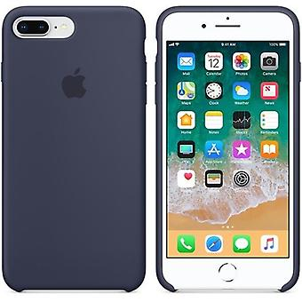 Originele verpakte Apple MQGY2ZM/A Siliconen Microfiber Cover Case voor iPhone 8+ Plus / 7+ - Midnight Blue