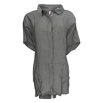 Wynne Layers Women's Plus Top Gray Blouse Rayon Short Sleeve 655-355