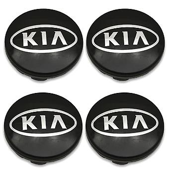 Black Kia Car Wheel Center Caps Hub Cover 60mm 4 PCS For Picanto, Rio, Forte, EV, Soul, Ceed