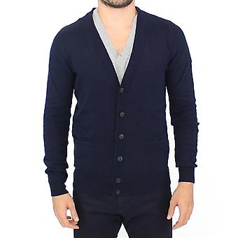 Ermanno Scervino Blue Wool Cashmere Cardigan Pullover Sweater