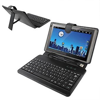 10 inch Universal Tablet PC Leather Case with USB Plastic Keyboard(Black)