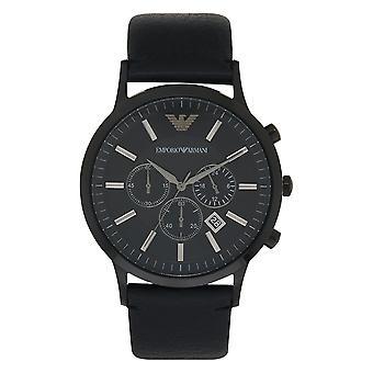 Armani Ar2461 Emporio musta nahka kronografi Men's Watch