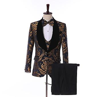 Jacquard Floral Casual Suits Blazer With Pants