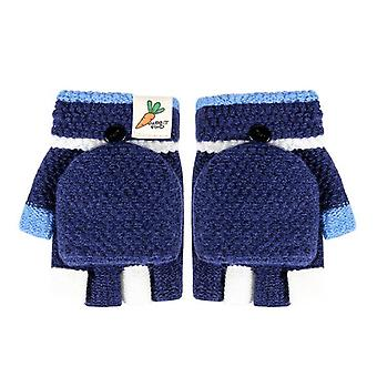 Kids Winter Gloves Half Finger Flip Cover Knitting Mittens Winter Warm Kids
