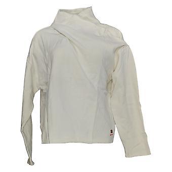 Peace Love World Women's Cross-Over Drape-Neck Sweatshirt Ivory A351883