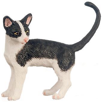 Dolls House Musta &; Valkoinen kissa seisoo näyttää vasen häntä ylös 1:12 Miniatyyri lemmikki