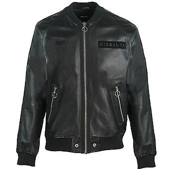 Diesel L-Pins-A Black Leather Bomber Jacket