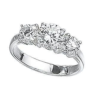 Elementen Sterling Silver R2045C 54 Dames Clear CZ Drie Stenen Ring