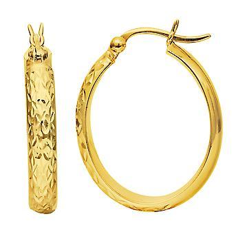 14K geel gouden geciseleerde gepolijst ovale Hoop Earrings Hoop Earrings