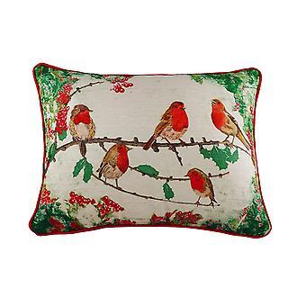 Evans Lichfield Chenille Robin Christmas Cushion Cover