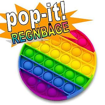 Pop It Fidget Toy Original - Rainbow Round - CE Godkendt