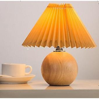 Korean Pleated Ceramic Table Lamp With Tricolor Led Bulb