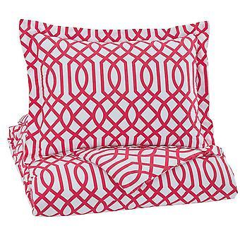 Ensemble de courtepointe de taille jumelle de tissu avec la conception de treillis et 1 trèfle, rouge