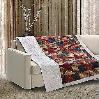 Spura Home Mountain Cabin Blue Patchwork Quilted Sherpa Throw Blanket