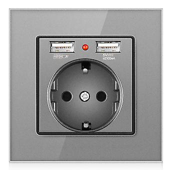 Eu Crystal Glass Panel Without Pin Power Socket 16a With 2 Usb