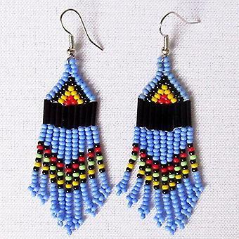 Multiple Strands Maasai Blue Earings, Handcrafted Beaded Earrings.