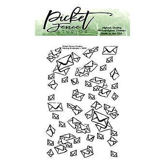 Picket Fence Studios Raining Envelopes 2x3 Inch Clear Stamps