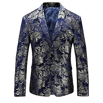 YANGFAN Men's Dress Floral Blazer Single-Breasted 2 Buttons Suit Jacket
