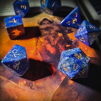 Lapis Gemstone Dice Set