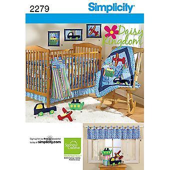 Yksinkertaisuus ompelu kuvio 2279 Lastenhuone sviitti peitto säntä Daisy Kingdom