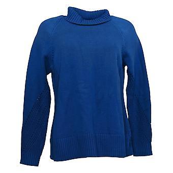 Isaac Mizrahi En direct! Women's Sweater Mixed Stitch Turtleneck Blue A385133