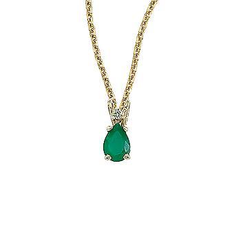 LXR 14K oro amarillo en forma de pera esmeralda y diamantes colgante 0.4ct