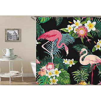 Тропические цветы и занавеска для душа фламинго
