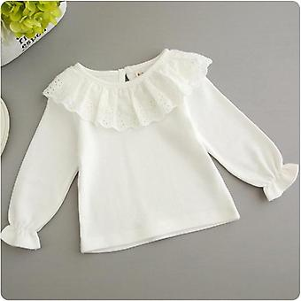Sweet White Lace Shirt For Baby, Long Sleeve Cotton Shirt