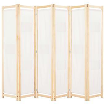 vidaXL 6-osainen huoneenjakaja kerma valkoinen 240 x 170 x 4 cm kangas