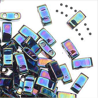 Miyuki Half Tila 2 Hole Rectangle Beads 5x2.3mm - Medium Blue Iris 7.8 Grams