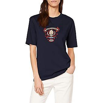 Camiseta escocesa y soda de manga corta con camiseta de obras de arte frescas, Navy-0004, S Woman