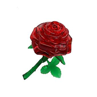 Red 3d self-installed rose crystal building block ,diy puzzle educational jigsaw toy az4495