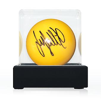 Jimmy White Signed Yellow Snooker Ball. In Display Case