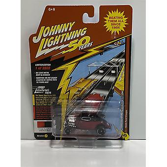 1934 Ford Coupe Candy Apple Black 50th 1:64 Johnny Lightning JLCG018A