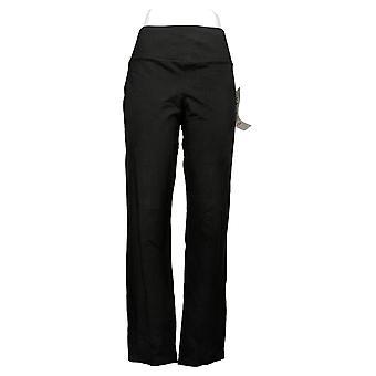LOGO by Lori Goldstein Women's Pants Bootcut Woven Pull-On Black A375045