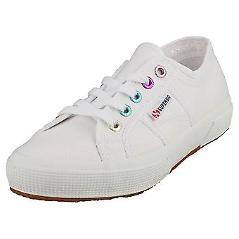 Superga 2750 Colorful Eyelets Womens Fashion Trainers in White